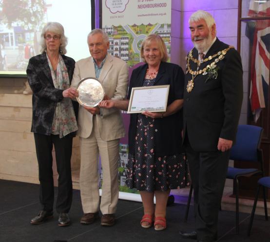 Receiving portfolio award at Dartmouth Linda Dennis won the South West Tourism Salver for the best portfolio