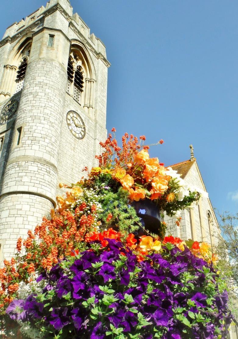 Flowers outside Holy Trinity church