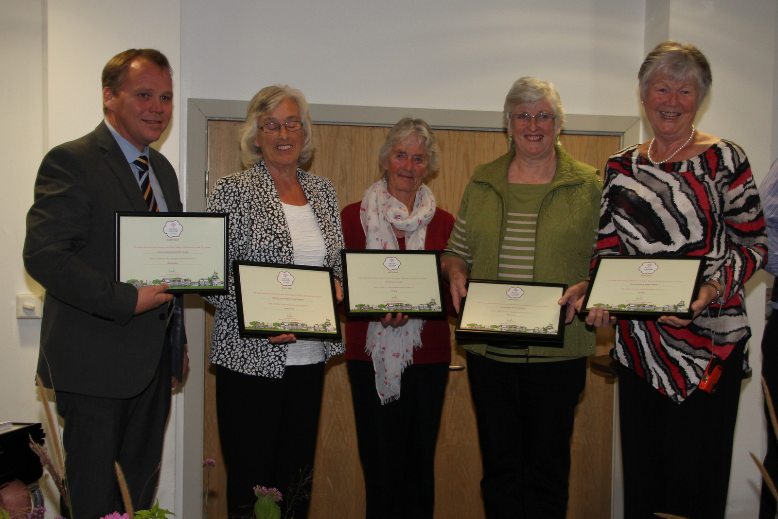Receiving Neighbourhood awards from Terry Doyle