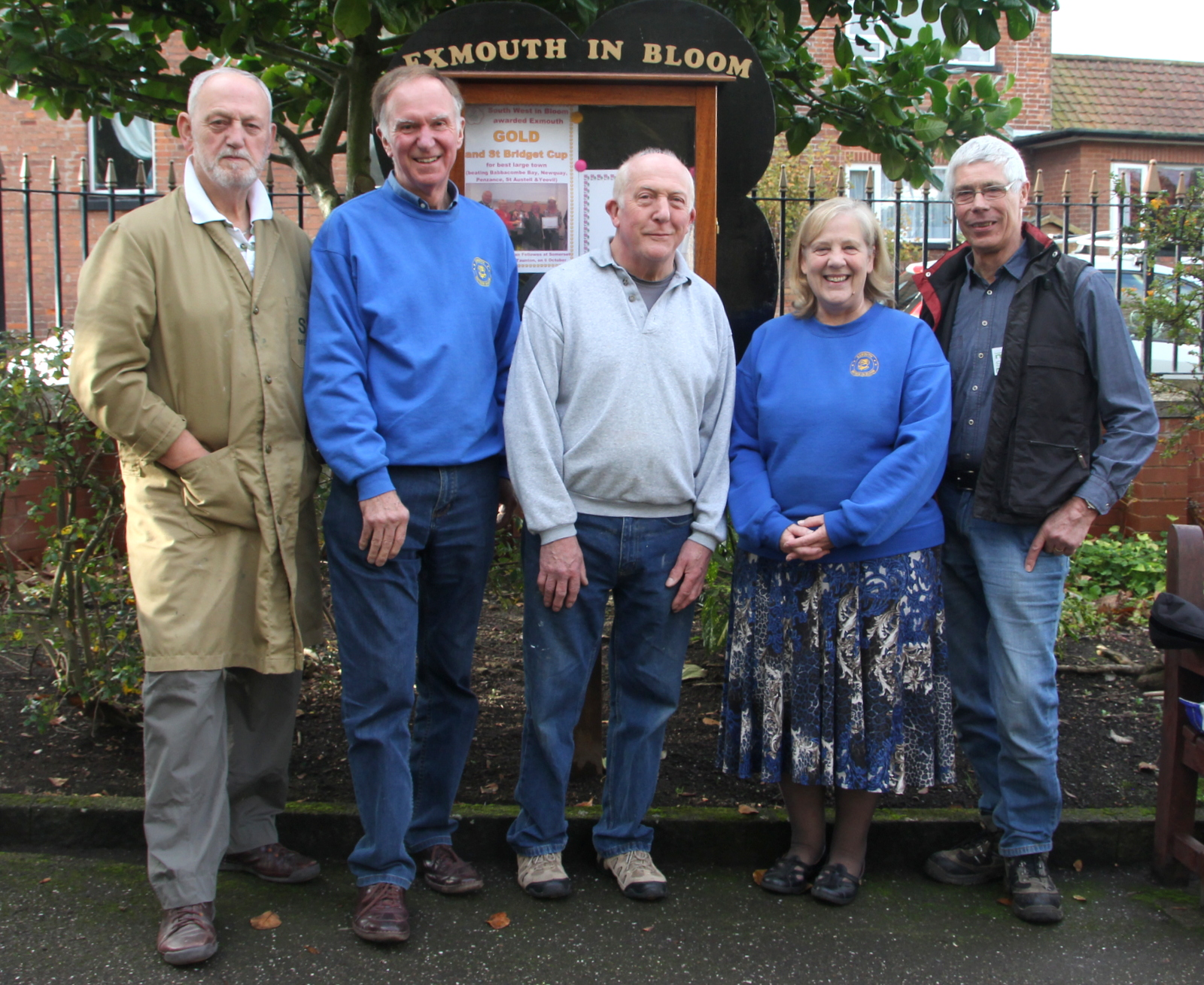 Sid, Mike, Peter, Ann and Mick at the noticeboard in Manor Gardens